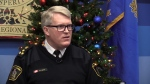 Waterloo Region Police Chief Bryan Larkin is seen doing an interview in this photo. (CTV Kitchener)