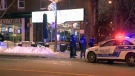 Police stand outside a bar on Sherbrooke St. in NDG where one man was shot (Jan. 19, 2018)