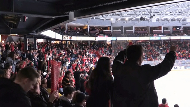 Sleeman Centre packed for Frosty Mug hockey game