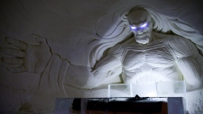 A large decoration is seen inside a Game of Thrones-themed ice hotel in Kittila Finnish Lapland on Sunday Jan. 14, 2018. (Aku H'yrynen/Lehtikuva via AP)