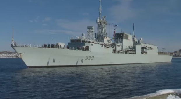 HMCS Charlottetown sails into port in Halifax on Jan. 19, 2018 following a six-month deployment overseas.