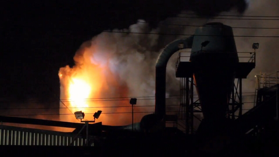A large fire broke out at a sawmill on Yukon Street south of Marine Drive early Friday morning.