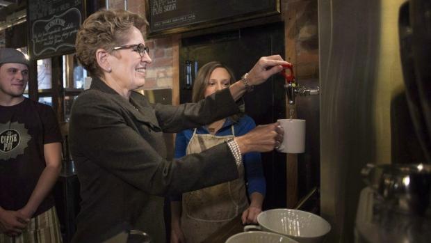 Ontario Premier Kathleen Wynne makes tea