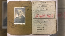 The Second World War-era passport included a photo and the name 'Franz Laue'. Supplied.