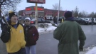 Rally outside of a Tim Hortons location