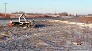 Two people were hospitalized after a head-on collision near Yorkton on Jan. 19, 2018 (Cole Davenport / CTV Yorkton)