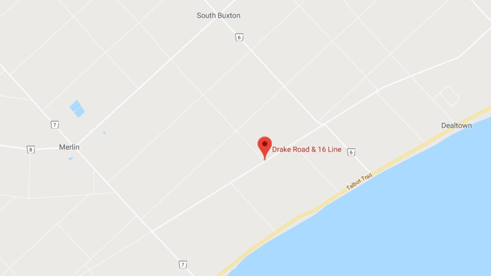 The location of the toppled turbine, in South Buxton near Drake Road and 16 Line in the municipality of Chatham-Kent (Google Maps)
