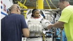 Jeanette Epps participates in a spacewalk training session at the Johnson Space Center in Houston, on Sept. 16, 2014. (Robert Markowitz / NASA via AP)