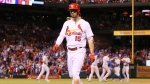 St. Louis Cardinals' Randal Grichuk returns to the dugout after making the final out during a baseball game against the Chicago Cubs, Wednesday, Sept. 27, 2017. (Chris Lee/St. Louis Post-Dispatch via AP)