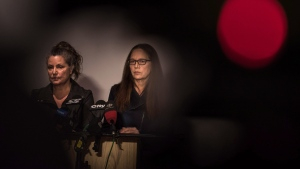 Patricia Kinsman, left, and Karen Coles, sisters of the missing and murdered Andrew Kinsman, speak to media at the 509 Church Street Community Center in Toronto after the court appearance of Bruce McArthur on Friday, January 19, 2018. THE CANADIAN PRESS/Aaron Vincent Elkaim