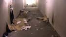 Garbage litters the floor of the soon-to-be closed pedestrian tunnel under Macleod Trail near Glenmore Trail on January 19, 2018