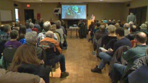Roughly 150 people attended Friday night's public forum at the Redwood Meadows Community Centre to discuss what is best for Russell the black bear