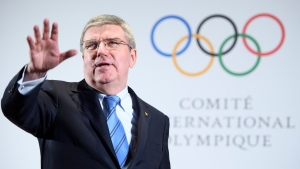 International Olympic Committee president Thomas Bach speaks before the North and South Korean Olympic Participation Meeting at the IOC headquarters in Pully near Lausanne, Switzerland, Saturday, Jan. 20, 2018. (Laurent Gillieron/Keystone via AP)