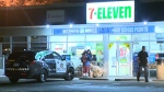 Police are looking for two people in connection with an early morning robbery at a 7-11 store in Bowness.
