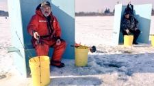 Two men ice fish at Belwood Lake Park on Friday, Jan. 19, 2018. (Dan Lauckner / CTV Kitchener)