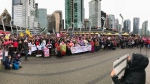 Thousands of demonstrators filled Jack Poole Plaza in downtown Vancouver for the Women's March on Jan. 20, 2018.
