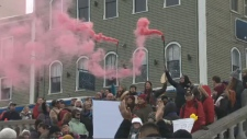 Throngs of people rallied together at  Halifax's Grand Parade square on Saturday, Jan. 20, 2018.