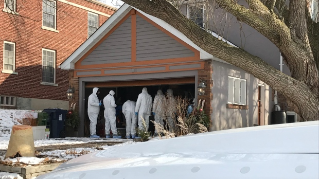 Toronto police search a home in the Leaside area, on Saturday, Jan. 20, 2018.
