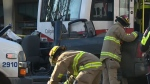 A woman was sent to hospital after she was hurt in a crash involving the CTrain.