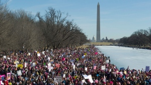 Participants in the Women's March gather near the Lincoln Memorial in Washington, Saturday, Jan. 20, 2018. (AP Photo / Cliff Owen)