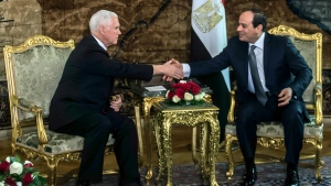 U.S. Vice President Mike Pence shakes hands with Egyptian President Abdel-Fattah el-Sissi, right, at the Presidential Palace in Cairo, Egypt, Saturday, Jan. 20, 2018. (Khaled Desouki / Pool Photo via AP)
