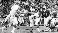 Calgary quarterback Jerry Keeling (10) throws to teammate Rudy Linterman during first quarter CFL Grey Cup action against the Montreal Alouettes on Nov. 28, 1970. (THE CANADIAN PRESS)