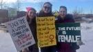 People in Saskatoon march in solidarity with women's rights (Laura Woodward/CTV Saskatoon).