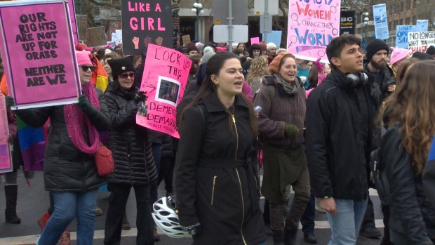 Hundreds in Victoria joined millions around the world to march on Saturday for the betterment of women. Jan. 20, 2018 (CTV Vancouver Island)