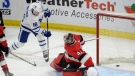 Toronto Maple Leafs centre Mitchell Marner (16) slips the puck past Ottawa Senators' goaltender Craig Anderson during third period NHL action in Ottawa, Saturday, Jan.20, 2018. THE CANADIAN PRESS/Adrian Wyld