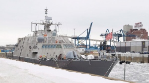 The USS Little Rock is shown moored in Montreal's old port, Sunday, January 21, 2018. A newly commissioned Navy warship will be wintering in Montreal after its journey to Florida was interrupted by cold and ice. THE CANADIAN PRESS/Graham Hughes
