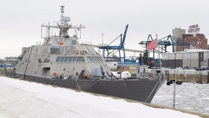 The USS Little Rock is shown moored in Montreal's old port, Sunday, January 21, 2018. (THE CANADIAN PRESS/Graham Hughes)