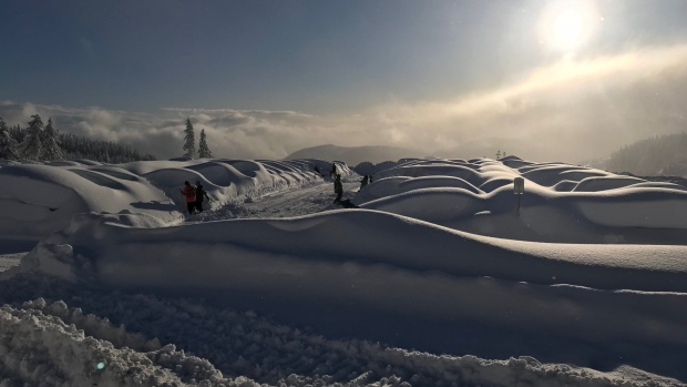 Dozens of skiers and snowboarders were left stranded at the Mount Washington Alpine Resort after an estimated 110 centimetres of snow hit the area in 24 hours over the weekend.