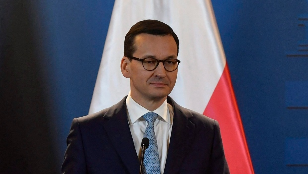 Polish Prime Minister Mateusz Morawiecki is shown during a visit to Budapest, Hungary, Wednesday, Jan. 3, 2018. (Tibor Illyes/MTI via AP)