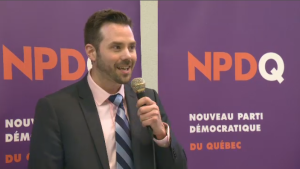 Raphael Fortin, 37, got his start in politics by volunteering for the federal NDP led by Tom Mulcair. According to his LinkedIn page, he also moonlights as a bartender. (CTV Montreal)