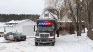 The OPP Eastern Mobile Unit arrives in Madoc, Ont. on Friday January 19, 2018. Police are combing through five properties, four in Toronto, one in Madoc, Ont., connected to Bruce McArthur, a self-employed landscaper who was arrested and charged with first-degree murder as part of an investigation into the disappearance of Selim Esen and Andrew Kinsman. THE CANADIAN PRESS/Lars Hagberg