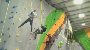 Climbers at new Regina Climbing Centre.