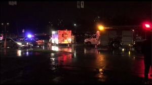 Emergency crews respond to a hit-and-run in Burnaby on Jan. 20, 2018.