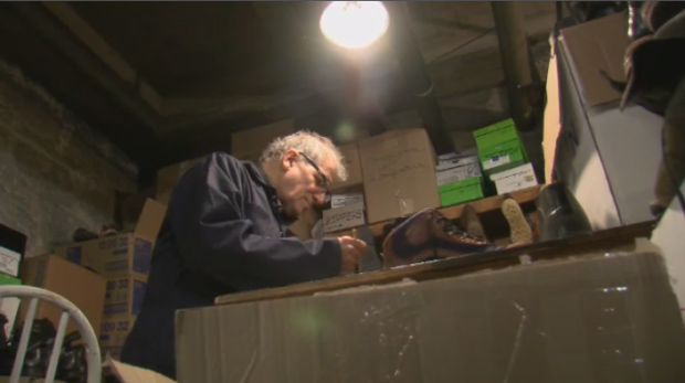 Father Couturier's cobbling workshop is in an unlikely place: deep in the basement of the basilica where he started out, since his current parish doesn't have enough room to accommodate a workshop. (CTV Montreal)