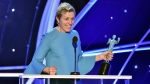 "Frances McDormand accepts the award for outstanding performance by a female actor in a leading role for ""Three Billboards Outside Ebbing, Missouri"" at the 24th annual Screen Actors Guild Awards on Sunday, Jan. 21, 2018, in Los Angeles. (Photo by Vince Bucci/Invision/AP)"
