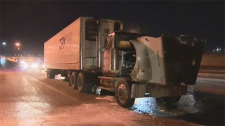 Fire crews were called to a truck fire on Deerfoot trail on Monday morning.
