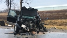 Police say the pickup truck driver suffered non-life threatening injuries after a crash on Highway 3 in Kingsville, Ont., on Monday, Jan. 22, 2018. (Kimberley Johnson / Am800)