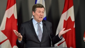 Toronto Mayor John Tory speaks about the city's bid for Amazon's second North American headquarters during a news conference in Toronto on Jan. 18, 2018. THE CANADIAN PRESS/Frank Gunn