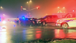 Three people were hurt in a two-vehicle crash at Ottawa Street and Fischer-Hallman Road in Kitchener on Sunday, Jan. 21, 2018.