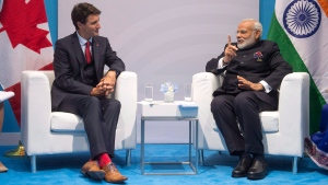 Prime Minister Justin Trudeau chats with Indian Prime Minister Narendra Modi during their bilateral meeting at the G20 summit in Hamburg, Germany, on Friday, July 7, 2017. (THE CANADIAN PRESS/Ryan Remiorz)
