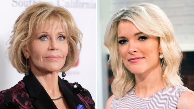 "In this combination photo, Jane Fonda appears at the 2017 ACLU SoCal's Bill of Rights Dinner in Beverly Hills, Calif., on Dec. 3, 2017, left, and Megyn Kelly poses on the set of her new show, ""Megyn Kelly Today"" in New York on Sept, 21, 2017. (Richard Shotwell, left, Charles Sykes / Invision / AP)"