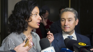 Minister of International Trade and Francois-Philippe Champagne and Quebec's Minister of the Economy, Science and Innovation Dominique Anglade in Montreal on Jan. 22, 2018. (Graham Hughes / THE CANADIAN PRESS)