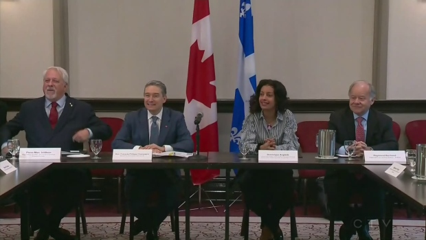 Federal trade minister Francois-Philippe Champagne, Quebec economic development minister Dominique Anglade, and lead Quebec NAFTA negotiator Raymond Bachand in Montreal on Monday, Jan. 22, 2018.