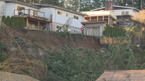Four homes along Park Road were evacuated after a slope gave way in Campbell River, badly damaging one of the homes. Jan. 22, 2018. (CTV Vancouver Island)