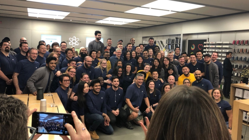 Tim Cook visited employees at the Apple Store in Toronto's Eaton Centre on his first visit to Canada as CEO, Jan. 22, 2018.