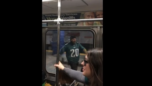 Philadelphia Eagles fan Jigar Desai says he's says doing OK after accidentally running into a pole in a Philadelphia subway station. (YouTube)